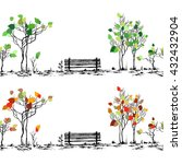 park sketch. bench and trees in ... | Shutterstock .eps vector #432432904