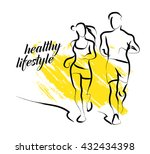 hand drawn fitness people...   Shutterstock . vector #432434398