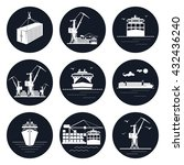Set Of Round Cargo Icons  Dry...