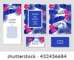 template with tropical flowers... | Shutterstock .eps vector #432436684