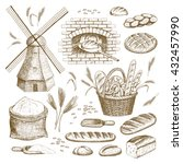 vector hand drawn bakery... | Shutterstock .eps vector #432457990