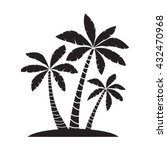 Palm Trees Silhouettes Vector...