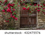 Red Roses And Old Wooden Door...