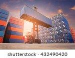 forklift truck lifting cargo... | Shutterstock . vector #432490420
