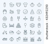 line baby child and toys icons...