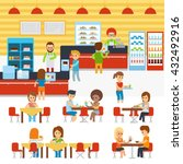 Stock vector cafeteria vector people in canteen people eating in the cafeteria catering restaurant and 432492916