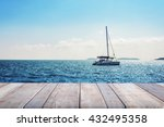 blur boat in the ocean with... | Shutterstock . vector #432495358