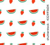 watermelon and strawberry... | Shutterstock .eps vector #432495604