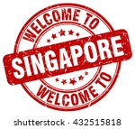 welcome to singapore. stamp   Shutterstock .eps vector #432515818