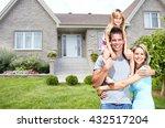 happy family near new house. | Shutterstock . vector #432517204