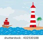 lighthouse seen from a tiny... | Shutterstock . vector #432530188