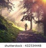 fog rider on a mountain bike... | Shutterstock . vector #432534448