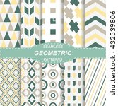 10 seamless geometrical colored ... | Shutterstock .eps vector #432539806