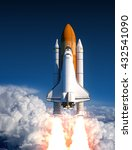 Space Shuttle Launch In The Clouds. 3D Illustration.
