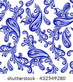 vector floral blue indian... | Shutterstock .eps vector #432549280