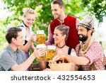 friends in bavarian beer garden ...   Shutterstock . vector #432554653