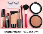 make up accessories on pink... | Shutterstock . vector #432555694