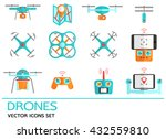 flat vector icons set with... | Shutterstock .eps vector #432559810