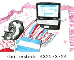 sketch   bed  laptop and a...   Shutterstock . vector #432573724