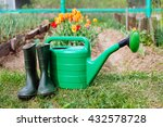 rubber boots with watering can... | Shutterstock . vector #432578728