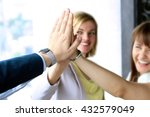 happy business team giving high ...   Shutterstock . vector #432579049