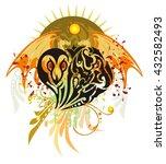 grunge snake heart. tribal...   Shutterstock .eps vector #432582493