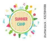 summer camp and outdoor... | Shutterstock .eps vector #432584488