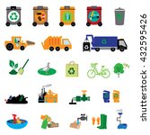 garbage and trash flat icons... | Shutterstock .eps vector #432595426
