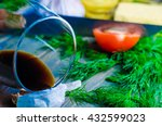 glass of wine  raw meat and...   Shutterstock . vector #432599023