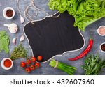 fresh salad greens of lettuce... | Shutterstock . vector #432607960