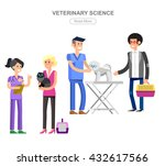 Stock vector high quality veterinary icon character design veterinarian with dog and cat inspects animal 432617566