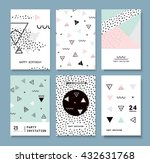 Set Memphis cards for congratulations. Hipster poster, juicy, bright color background. Invitation to a party. | Shutterstock vector #432631768