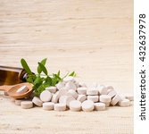 medicine herb. herbal pills... | Shutterstock . vector #432637978