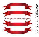 straight and curved red ribbons | Shutterstock .eps vector #432649549