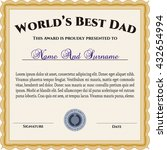 award  best dad in the world.... | Shutterstock .eps vector #432654994