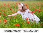 adorable little girl in white... | Shutterstock . vector #432657004
