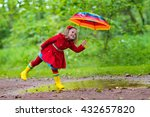 little girl playing in rainy... | Shutterstock . vector #432657820