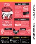 menu placemat food restaurant... | Shutterstock .eps vector #432661048
