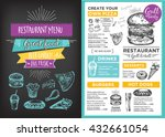 menu placemat food restaurant... | Shutterstock .eps vector #432661054