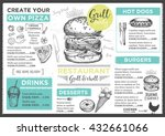 menu placemat food restaurant... | Shutterstock .eps vector #432661066