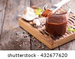 barbeque sauce with a basting... | Shutterstock . vector #432677620