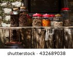 jars of fruit and natural herb...   Shutterstock . vector #432689038