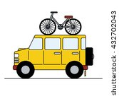 big suv car with bicycle on...   Shutterstock .eps vector #432702043
