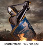 knight in battle rise with... | Shutterstock . vector #432706423