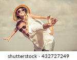 father and daughter playing on... | Shutterstock . vector #432727249