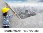 little girl engineering ideas... | Shutterstock . vector #432729283
