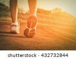 walking on a running track.  | Shutterstock . vector #432732844