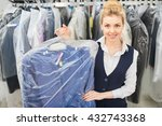 girl laundry worker holding a... | Shutterstock . vector #432743368