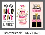 set of birthday greeting cards... | Shutterstock .eps vector #432744628