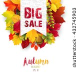 autumn leaves with sales banner.... | Shutterstock .eps vector #432745903